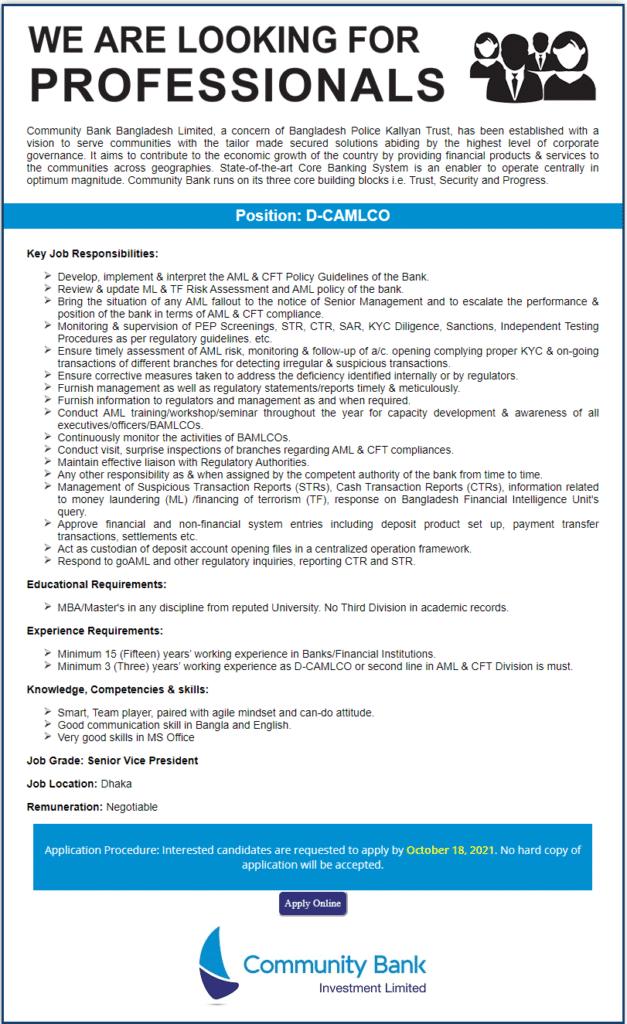 Community Bank Bangladesh LTD Job Circular 2021